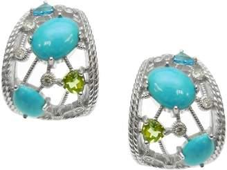 Judith Ripka Sterling & Multi-Gemstone Hoop Earrings