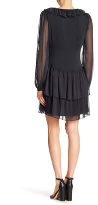 Marchesa Long Sleeve Ruffle Tiered Dress
