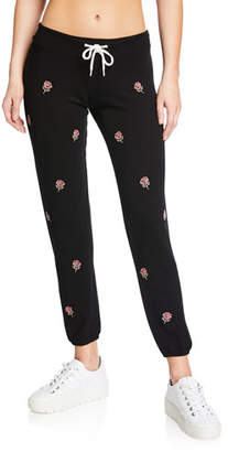 Monrow Rose Embroidered Vintage Drawstring Sweatpants