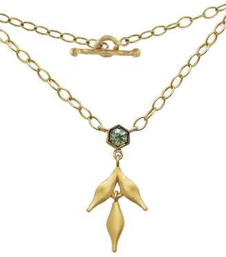Cathy Waterman Green Sapphire Bezel Flex Wheat Charm Necklace