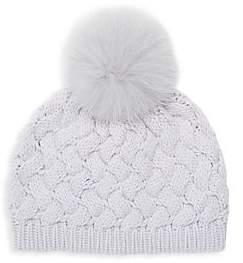 Raffaello Bettini Women's Fox Fur Pom-Pom Cashmere Beanie