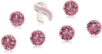 Charmed Lockets Breast Cancer Awareness Ribbon Crystal Floating Charm Set