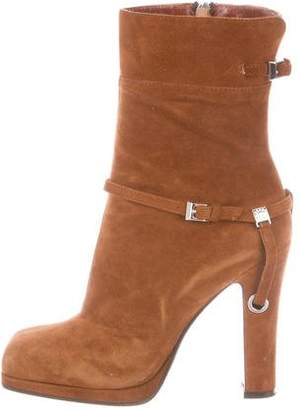 Fendi Suede Square-Toe Ankle Boots