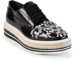 Prada Crystal-Embellished Patent Leather Espadrille Oxfords $1,350 thestylecure.com