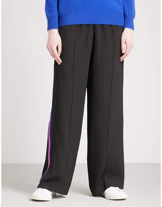 SERENA BUTE LONDON Side-stripe wide-leg silk-crepe jogging bottoms