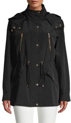 Hooded Drawstring Trench Jacket
