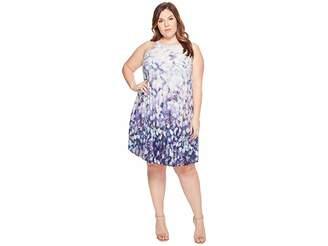 Adrianna Papell Plus Size Printed Stretch Chiffon Pleated Trapeze Dress Women's Dress