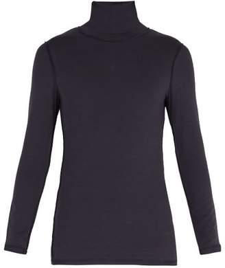 Vetements Reverse Effect Panelled Roll Neck Sweatshirt - Mens - Blue
