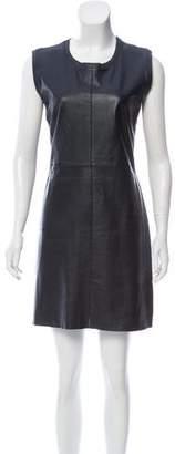 Fendi Leather-Paneled Mini Dress