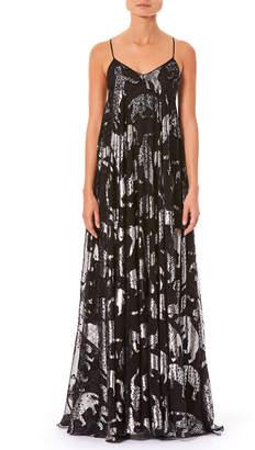 Carolina Herrera V-Neck Spaghetti-Strap Metallic Wildcats Billowy Evening Gown