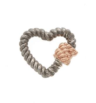 Twisted Heart Marla Aaron Lock - Sterling Silver and Rose Gold