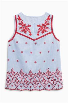 Next Womens Red/Blue Embroidered Sleeveless Blouse