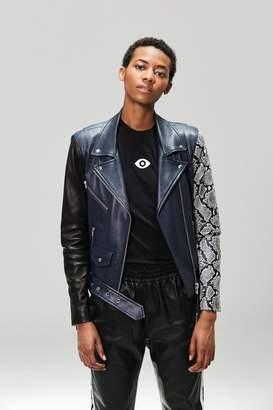 Veda Jayne Leather Jacket Navy Snake Combo