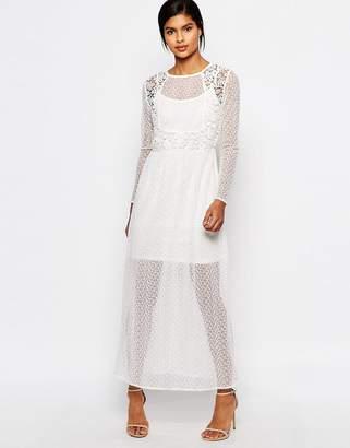 Vero Moda Sheer Lace Mix Maxi Dress $88 thestylecure.com