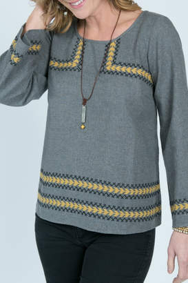 Ivy Jane Grey Top with Mustard and Black Embroidery