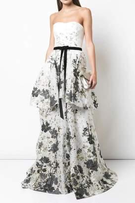 Marchesa Strapless Tiered Gown