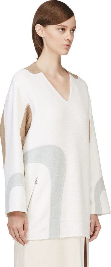 Marc Jacobs White V-Neck Wool Tunic