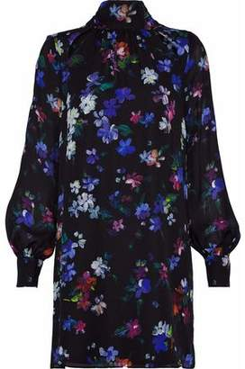 Milly Sherie Tie-Back Floral-Print Silk Crepe De Chine Mini Dress