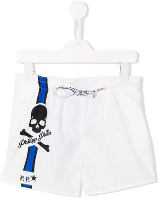 Philipp Plein Junior White Sand beach shorts