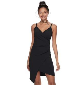 Almost Famous Juniors' Asymmetrical Faux-Wrap Dress