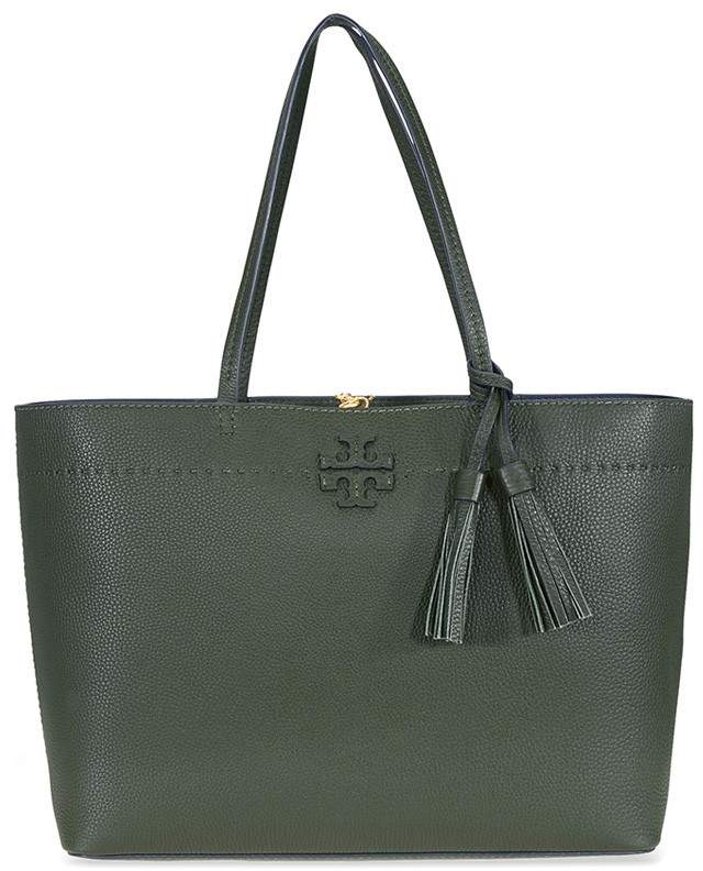 Tory Burch McGraw Leather Tote - Boxwood / Royal Navy - ONE COLOR - STYLE