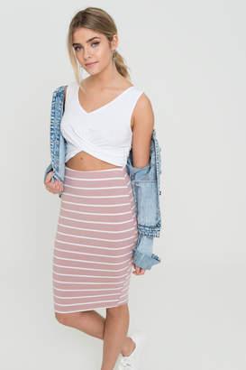 Ardene Striped Bodycon Midi Skirt