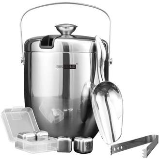 Vivohome VIVOHOME 3Quart Stainless Steel Doule Wall Insulated Ice Bucket Set with Lid Tongs Scoop and 4 Reusable Ice Cubes Silver