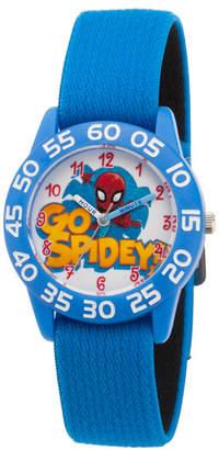 EWatchFactory Boy Marvel Super Hero Adventure Spider-Man Blue Plastic Time Teacher Strap Watch 32mm