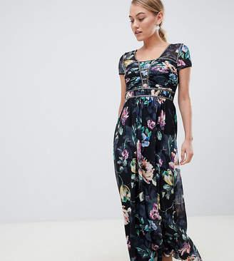 Little Mistress Petite cap sleeve maxi dress in dark floral print