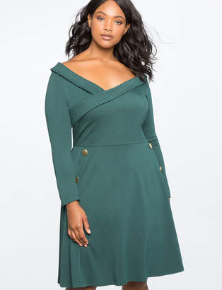 ELOQUII Button Detail Fit And Flare Dress