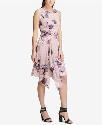 DKNY Floral Printed Draped A-Line Dress