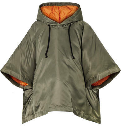 Oversized Cropped Hooded Shell Down Jacket - Army green