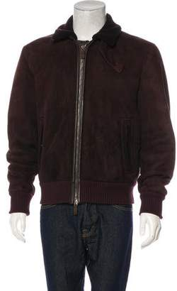 Canali Suede Shearling Zip-Up Bomber Jacket