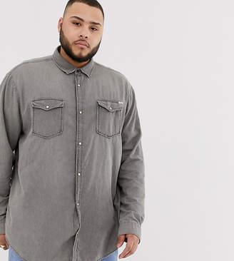Jack and Jones Essentials denim shirt in washed gray