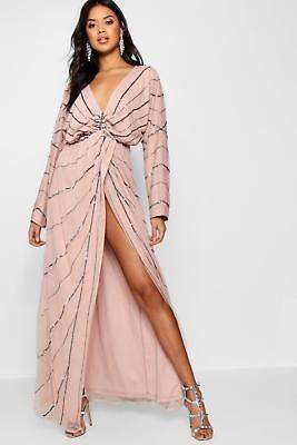 boohoo NEW Womens Boutique Batwing Embellished Maxi Dress in