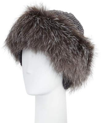 Inverni Cashmere & Fox Fur Beanie, Charcoal/Silver