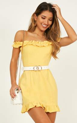 Showpo Days Of Summer dress in mustard linen look Dresses