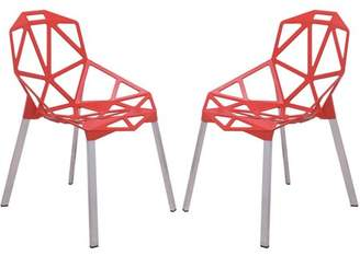 LeisureMod 3D Dalton Painted Iron Chair, Red Set of 2