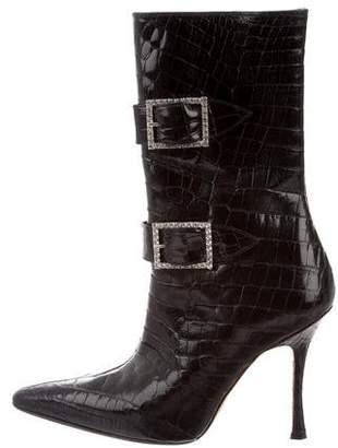 Manolo Blahnik Embellished Alligator Boots