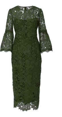 Lela Rose Corded-Lace Midi Dress