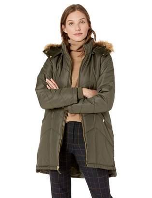 Details Women's Knee-Length Winter Coat with Faux Fur Trimmed Hood