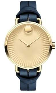 Movado Edge Goldtone Stainless Steel & Leather Strap Watch/Blue