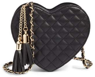 MALI AND LILI Mali + Lili Quilted Heart Vegan Leather Crossbody Bag