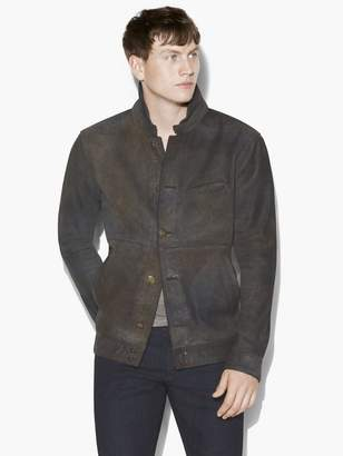 John Varvatos Button Front Leather Jacket