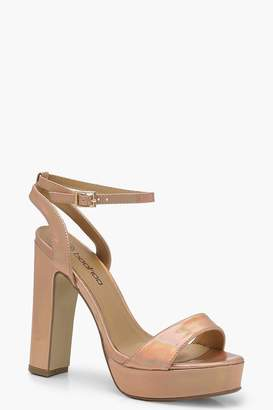 boohoo Metallic 2 Part Platform Heels