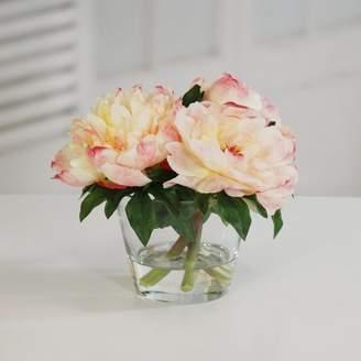 Jane Seymour Botanicals Peonies Floral Arrangement in Glass Flowers/Leaves