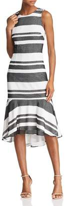 Adrianna Papell Striped Trumpet Dress