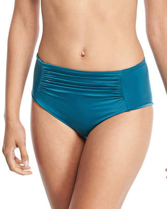 Luxe by Lisa Vogel Liquid by Luxe Ruched High-Waist Swim Bikini Bottom