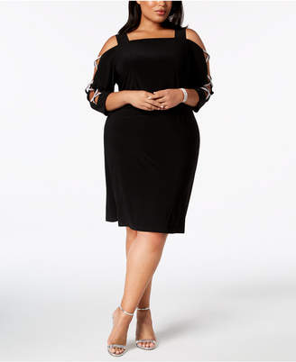 MSK Plus-Size 3/4-Sleeve Rhinestone-Embellished Dress