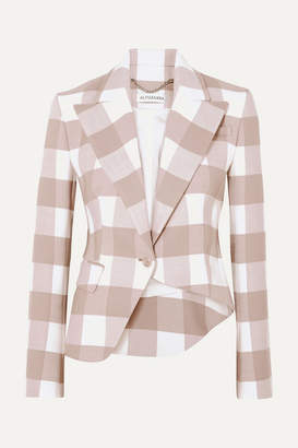 Altuzarra Lazio Asymmetric Gingham Wool-blend Twill Blazer - Beige